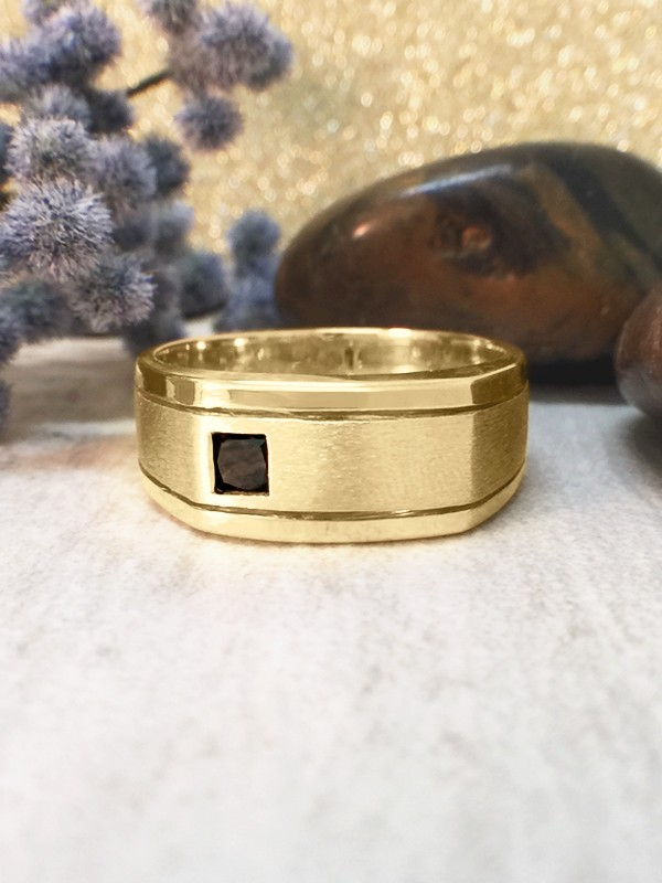 8.5MM Black Diamond Satin Finish and Polished Rim Wedding Band <Bezel> Solid 14K Yellow Gold (14KY) Men's Ring