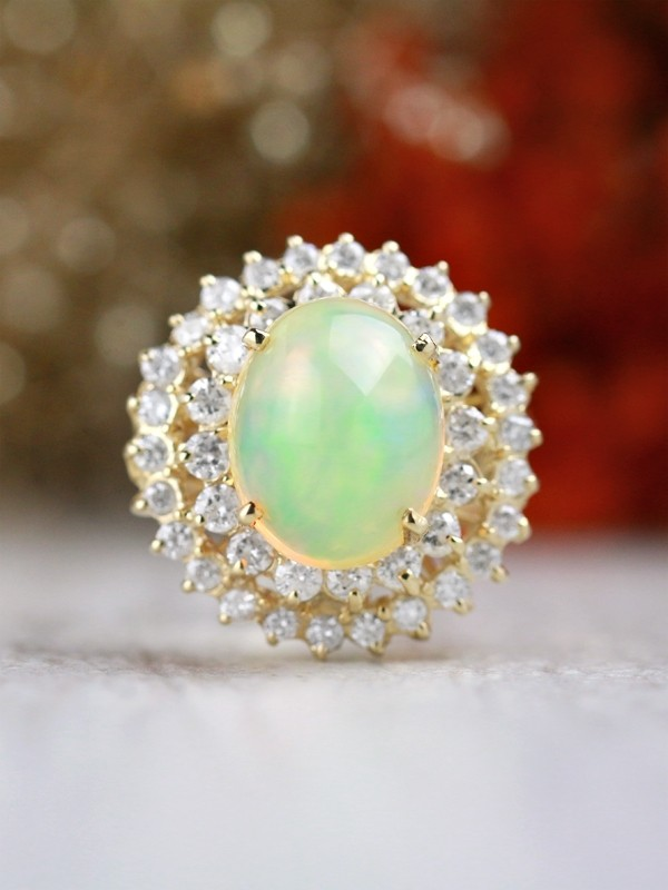 One-of-a-Kind | Opal Ring | 5.45CT Opal | 1.67CT Diamonds | Solid 14k Yellow Gold Ring | Estate Jewelry | Fine Jewelry | Free Shipping