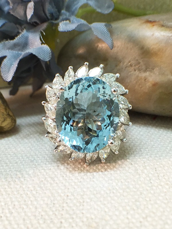 One-of-a-Kind | Aquamarine Ring | 8.7CT Aquamarine | 1.65CT Diamonds | Solid 14k White Gold Ring | Estate Fine Jewelry | Free Shipping