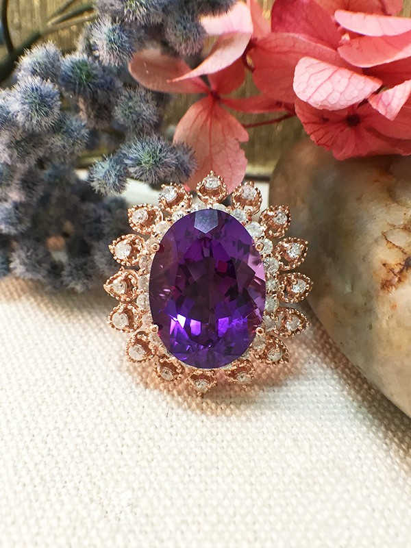 One-of-a-Kind | Amethyst Ring | 8.3CT Amethyst | 1.35CT Diamonds | Solid 14k Rose Gold Ring | Estate Jewelry | Fine Jewelry | Free Shipping