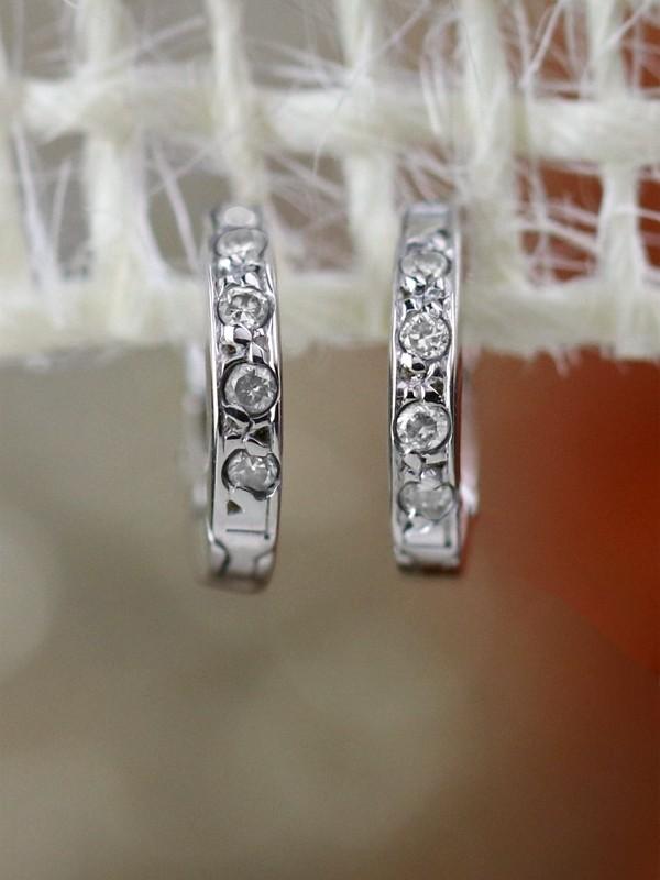 Diamond hoop 14k gold cartilage earrings