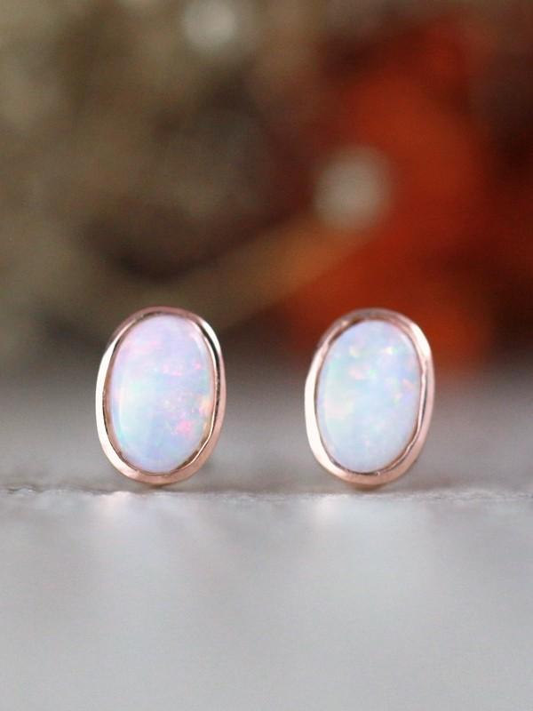 Australian Opal Earrings | Gemstone Studs | Opal Bezel  | Minimalist Jewelry | Solid 14K Gold | Fine Jewelry | Free Shipping