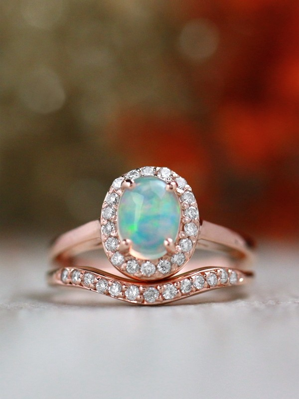 Opal And Diamond Wedding Band Set Solid 14k Gold