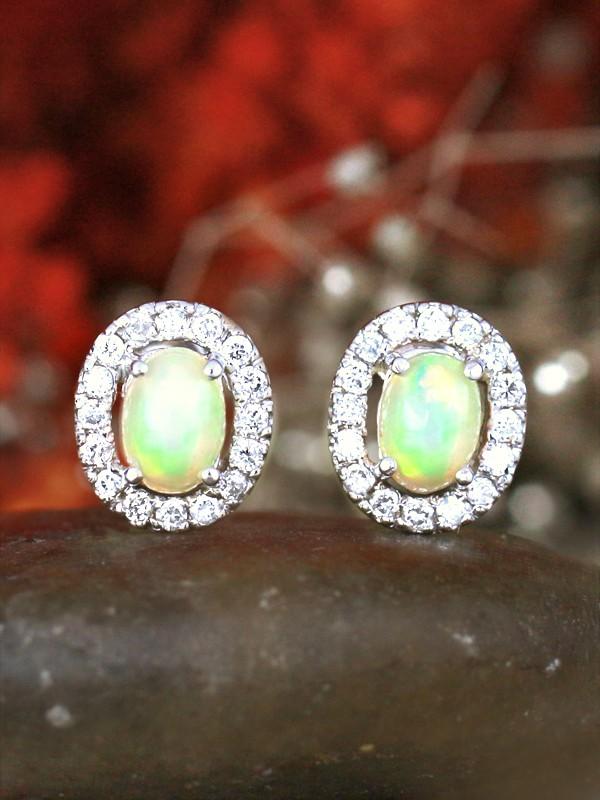 7x5MM Opal and Diamond Halo 14 Karat Stud Earrings