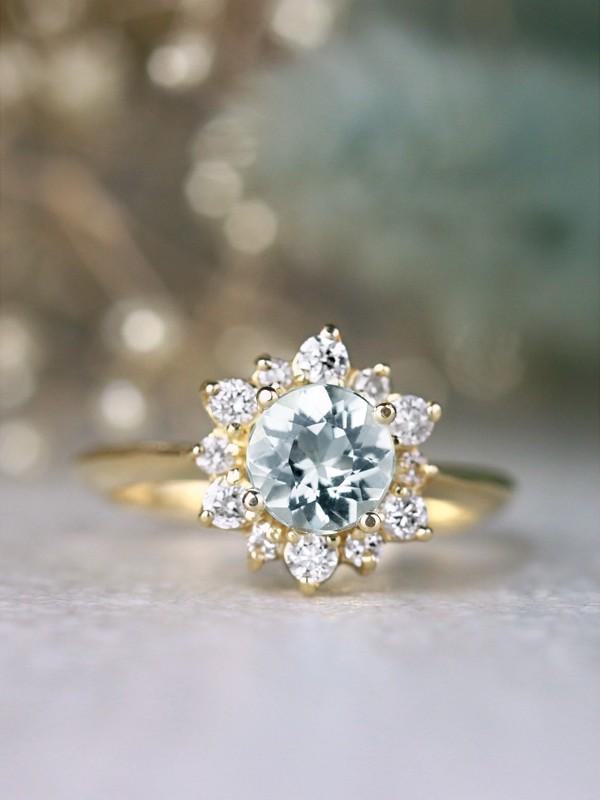 Round Aquamarine and Celestial Diamond Halo 14 Karat Gold Engagement Ring