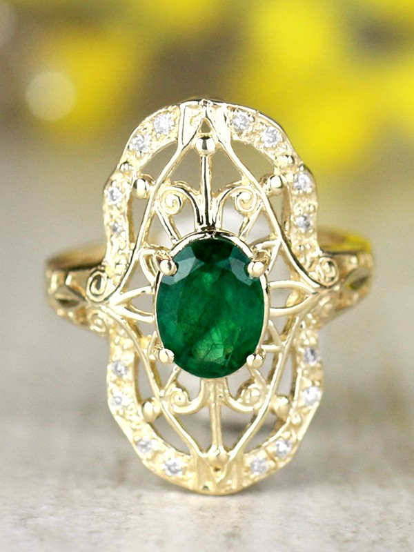 8x6MM Natural Emerald and Diamond Art Deco Solid 14 Karat Gold Engagement Ring