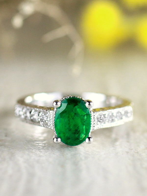 8X6MM Natural Emerald Solitaire and Diamond with Filigree Detailing Solid 14 Karat Gold Engagement Ring