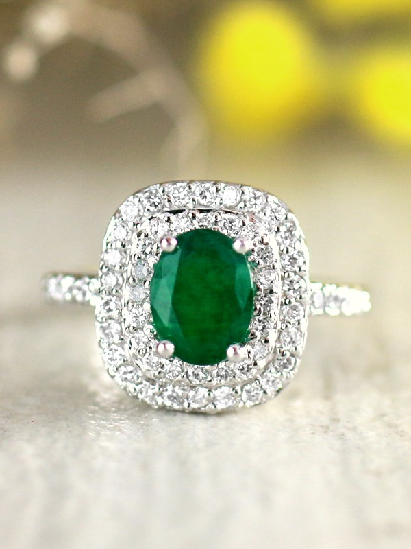 8x6MM Natural Emerald and Double Diamond Cushion Halo Solid 14 Karat Gold Engagement Ring
