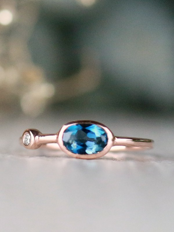 Natural London Blue Topaz and Baby Diamond Bezel Birthstone Solid 14 Karat Gold Stackable Engagement Ring
