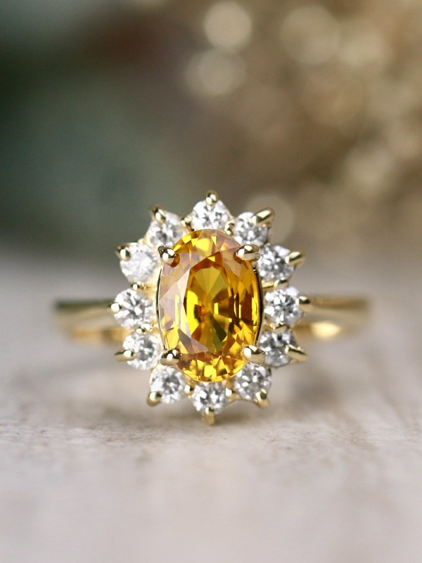 8x6MM Natural Yellow Sapphire Classic Diamond Halo Solid 14 Karat Gold Engagement Ring