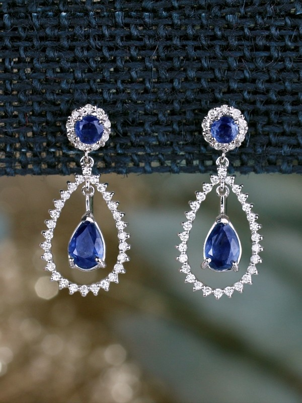Natural Sapphire Chandelier Dangle Diamond Solid 14 Gold Karat Earrings