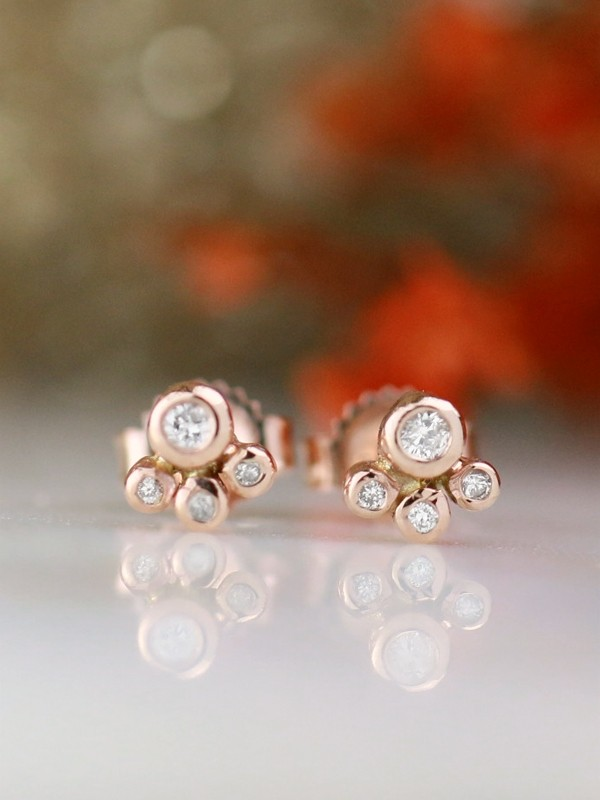 Petite Diamond Bubble Solid 14 Karat Gold Stud Earrings