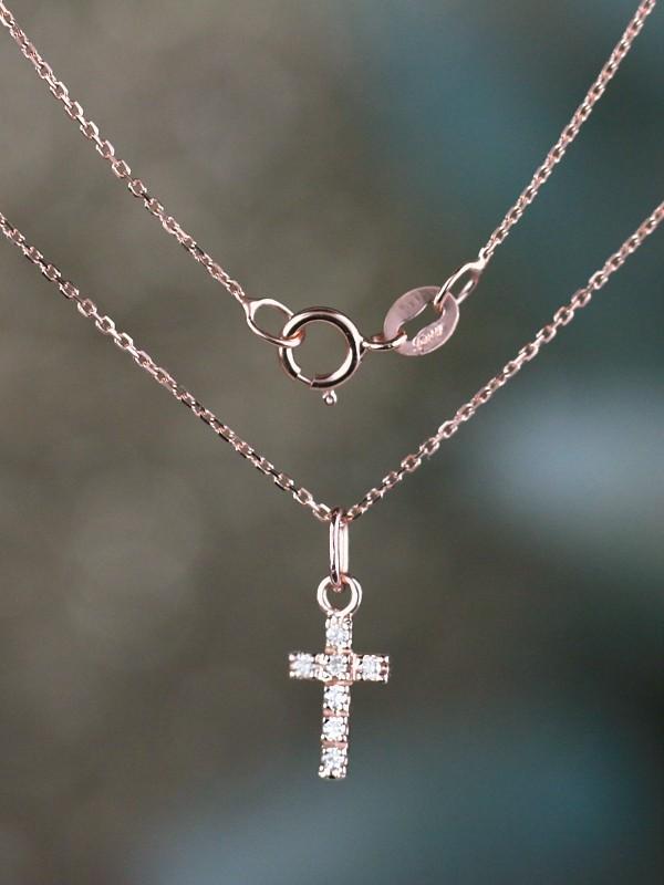 Natural Baby Diamond Cross Solid 14 Karat Gold Pendant Charm