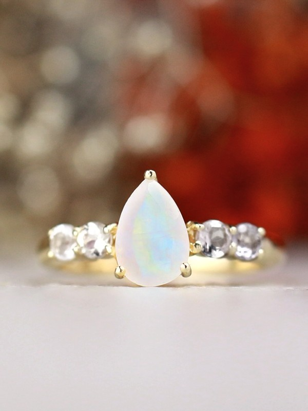 9x7MM Pear-Shaped Rainbow Moonstone and Tourmaline Solid 14 Karat Gold Milky Way Ring