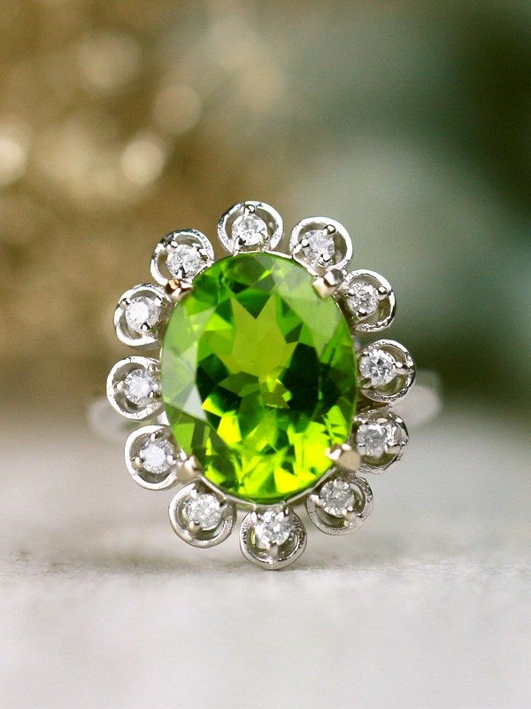 13x11MM Natural Shamrock Green Peridot with Vintage Inspired Diamond Halo Solid 14 Karat Gold Ring