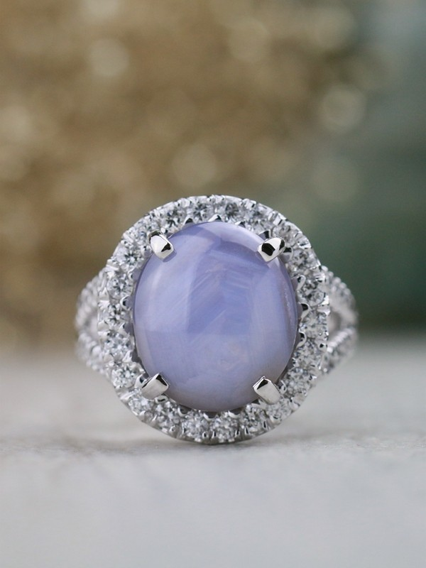 One-of-a-Kind 14.52CT Natural Periwinkle Blue Star Sapphire with Chevron Pattern Solid 14 Karat Gold Cocktail Ring