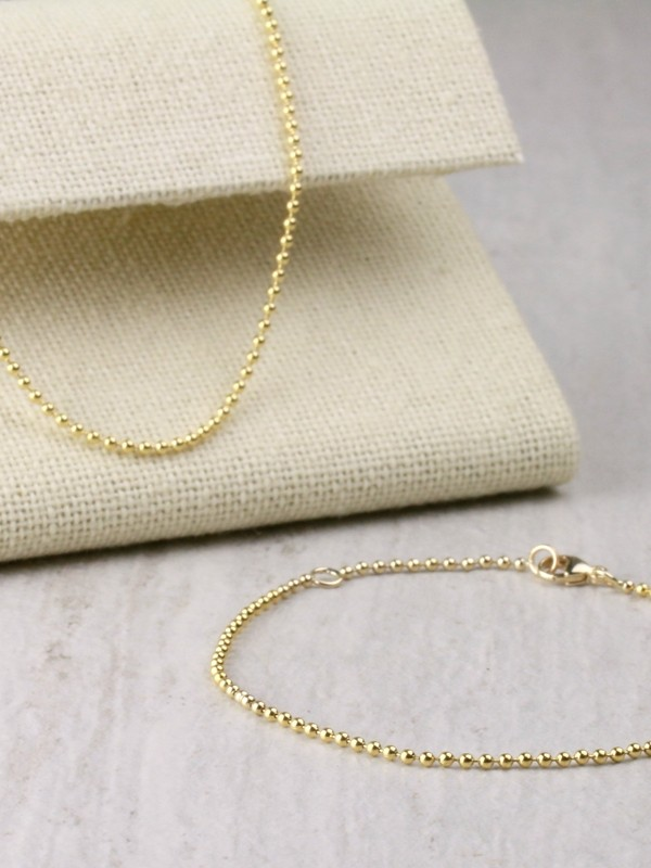 1.5MM Ball Chain and 1.5MM Solid 14 Karat Gold Bracelet Set