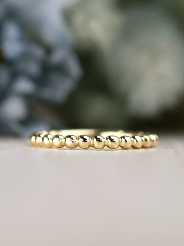 2MM Beaded Ball Solid 14 Karat Gold Stackable Ring