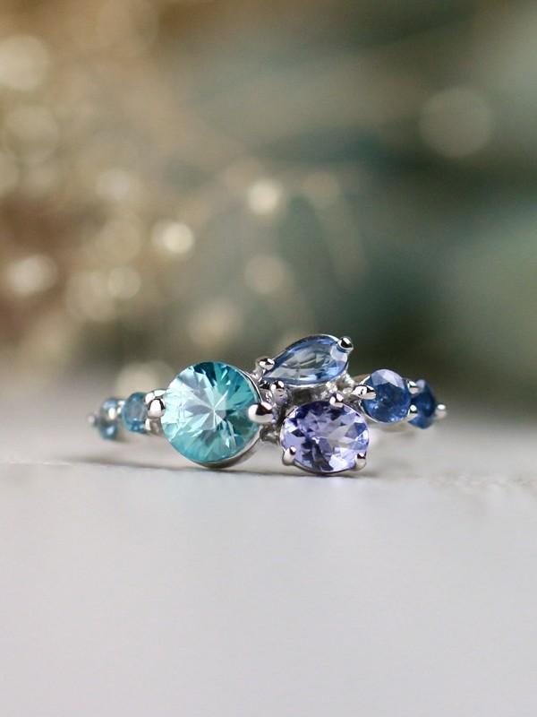 Caribean Blue Zircon, Tanzanite, Sapphire, and Tourmaline Ombre Solid 14 Karat Gold Cluster Ring