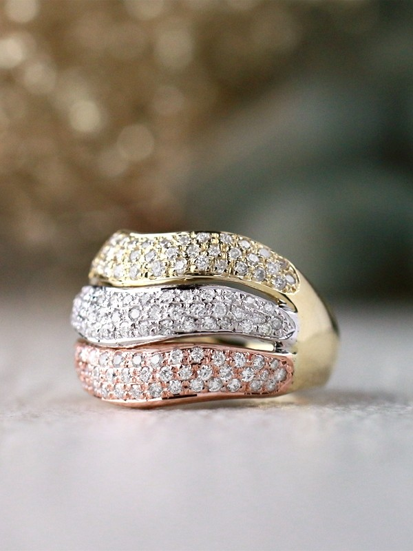 Tri-Color Diamond Solid 14 Karat Gold Stackable Star Ring