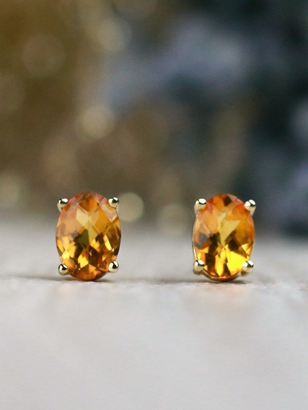 Simple Citrine Solid 14 Karat Gold Stud Earrings