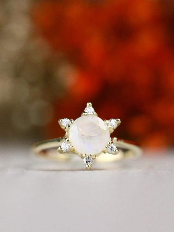 Moonstone Diamond Twilight Solid 14 Karat Gold Engagement Ring