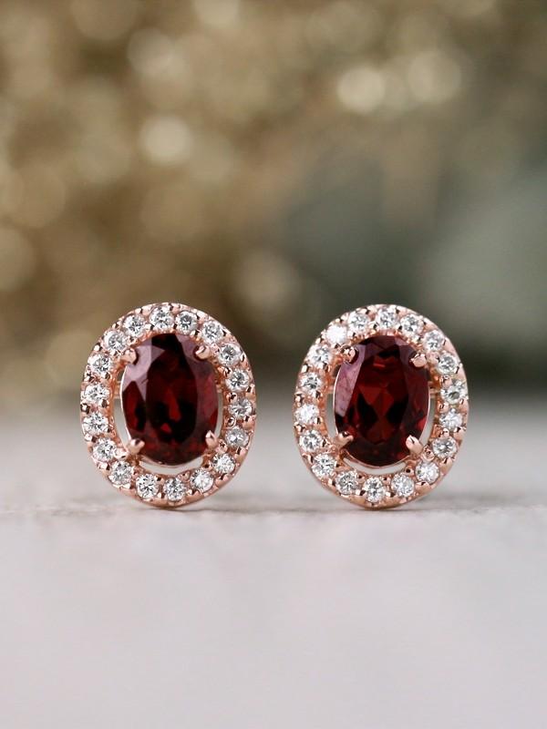 Natural Rhodolite Garnet and Diamond Halo Solid 14 Karat Gold Earrings