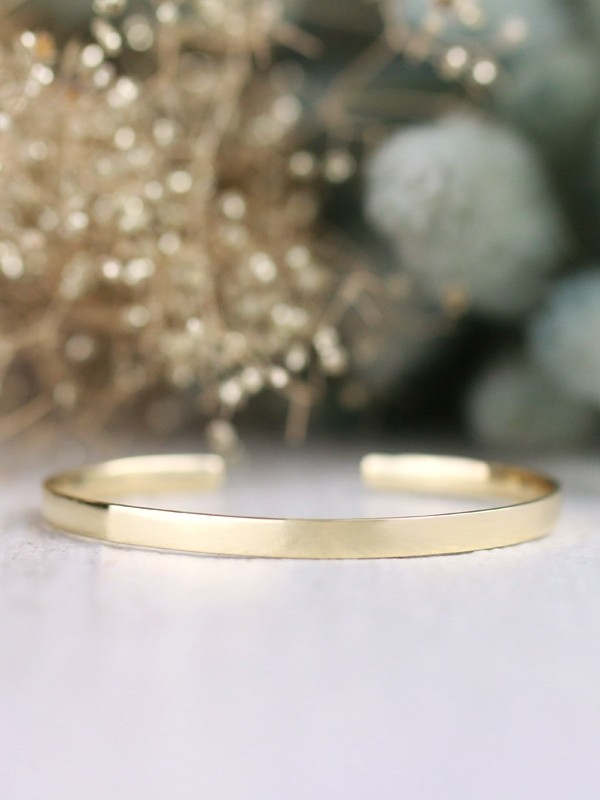 Simple 3.8MM Solid 14 Karat Gold Bangle Cuff