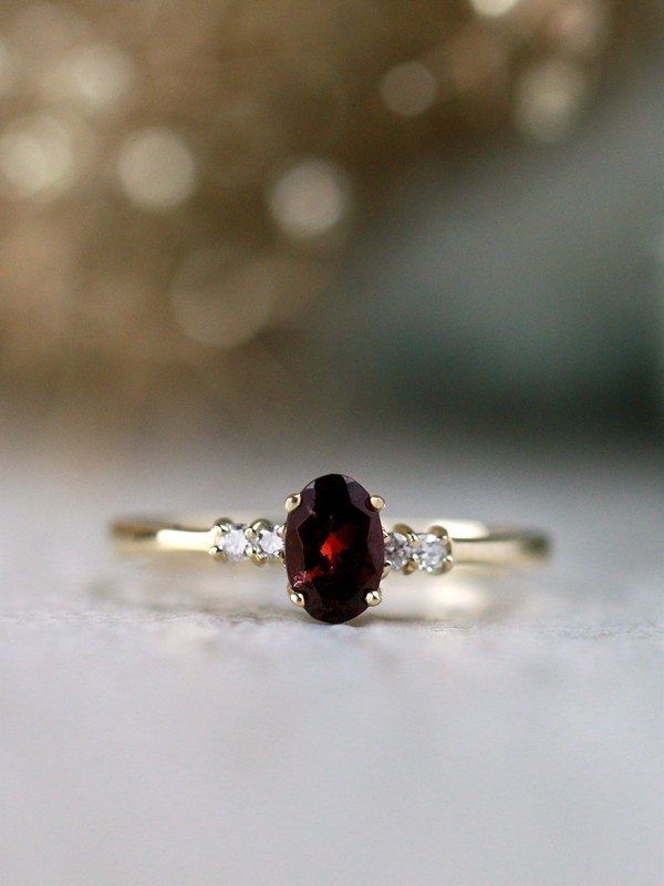 6x4MM Oval Garnet and Diamond Solid 14 Karat Gold Petite Ring