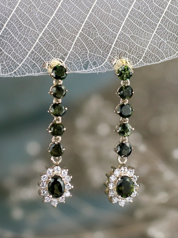 Green Tourmaline and Diamond Halo Dangle <Prong> Solid 14K White Gold (14KW) Colored Stone Earrings