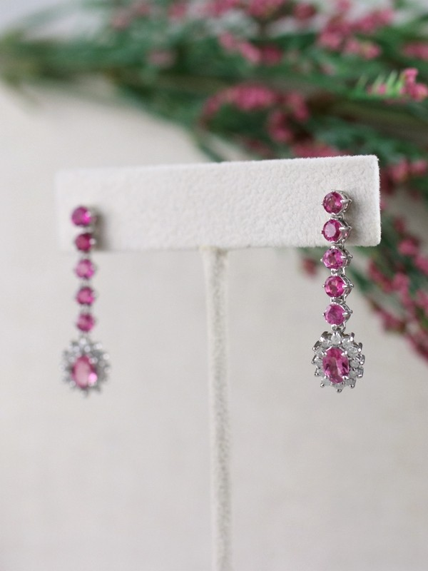 Pink Tourmaline and Diamond Halo Dangle <Prong> Solid 14K White Gold (14KW) Colored Stone Earrings