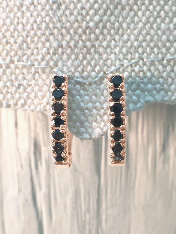 14.5MM Black Diamond Hoop <Prong> Solid 14K Rose Gold (14KR) Huggie Earrings