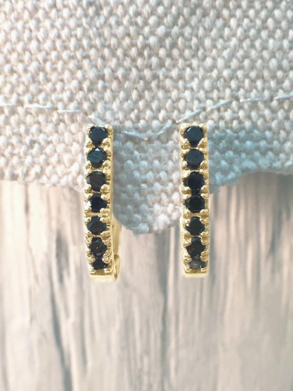 14.5MM Black Diamond Hoop <Prong> Solid 14K Yellow Gold (14KY) Huggie Earrings