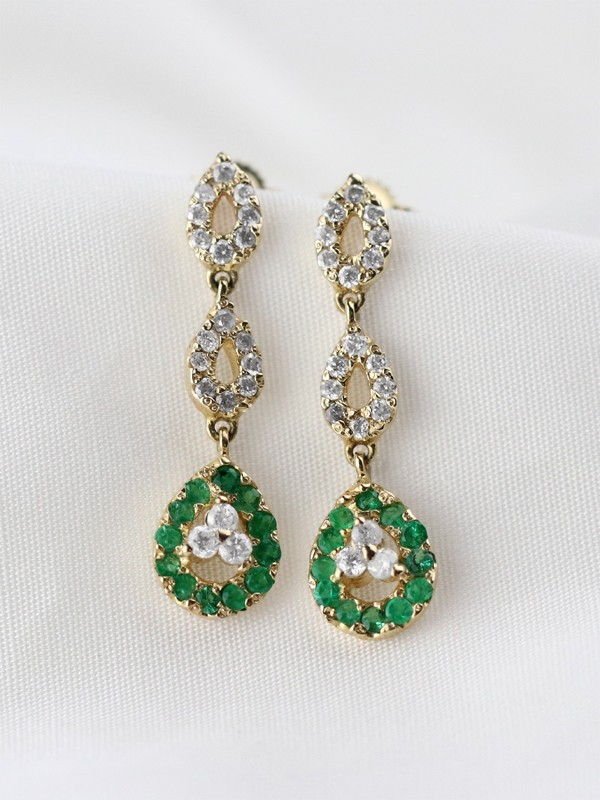 Emerald and Diamond Halo Dangle <Prong> Solid 14K Yellow Gold (14KY) Colored Stone Earrings
