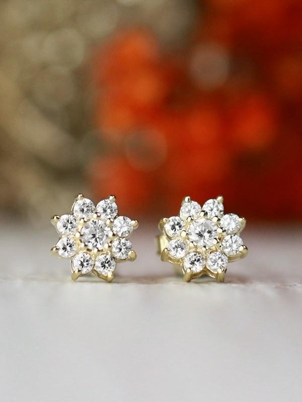 8x8MM Diamond Cluster Halo Floral Solid 14 Karat Gold Stud Earrings