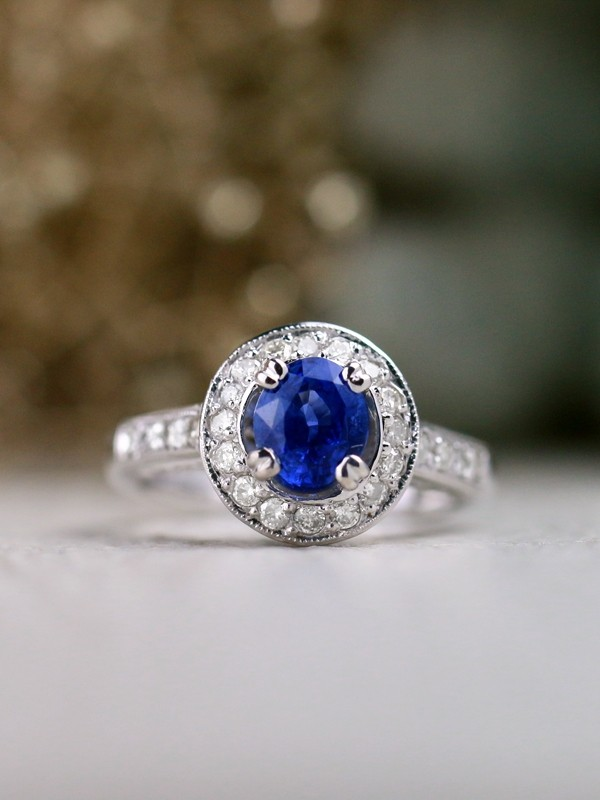 Ceylon Blue Sapphire and Diamond Engagement <Prong/Pave> Solid 14K White Gold (14KW) Wedding Ring