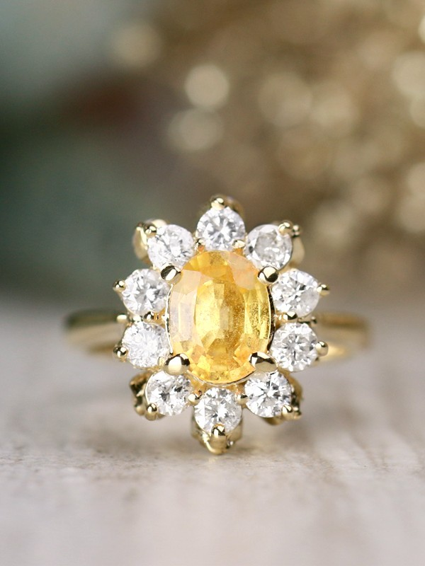 Yellow Sapphire and Diamond Engagement | Prong Setting | Solid 14K Gold | Cocktail Ring