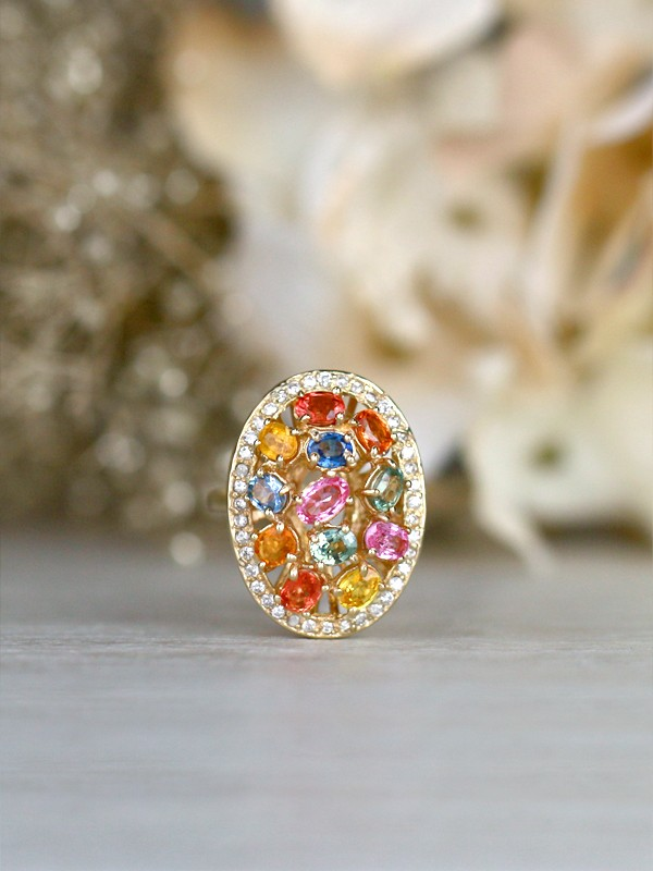Multicolor Sapphire and Diamond Cocktail <Prong> Solid 14K Yellow Gold (14KY) Colored Stone Estate Ring