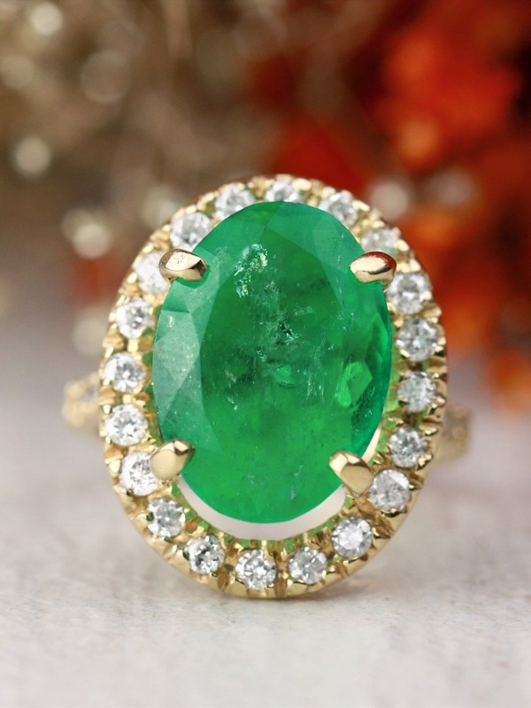 One-of-a-Kind 7.54CT Natural Emerald Floating Diamond Halo Solid 14 Karat Gold Cocktail Engagement Ring