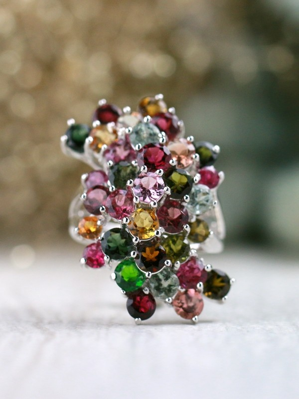 Multicolor Tourmaline Cluster Cocktail <Prong> Solid 14K White Gold (14KW) Colored Stone Estate Ring