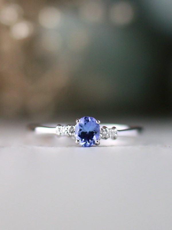5x3MM Tanzanite and Diamond Engagement <Prong> Solid 14K White Gold (14KW) Colored Stone Wedding Ring