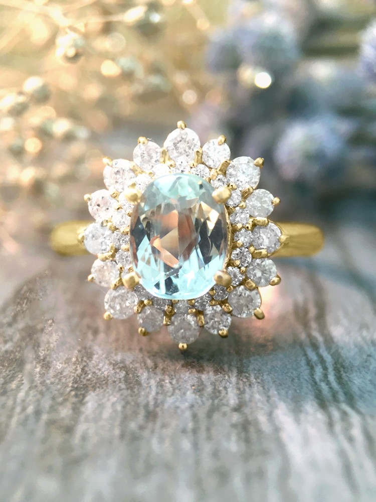 Aquamarine and Diamond Halo Engagement <Prong> Solid 14K Yellow Gold (14KY) Colored Stone Wedding Ring