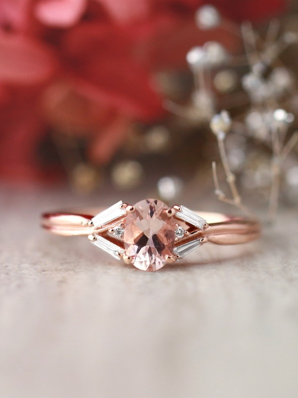 Morganite and Baguette Diamond Engagement <Prong> Solid 14K Rose Gold (14KR) Colored Stone Wedding Ring