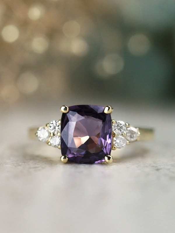 One-of-a-Kind Violet Spinel and Diamond Solid 14 Karat Gold Engagement Ring