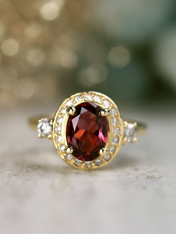 One-of-a-Kind Spinel and Diamond Solid 14 Karat Gold Engagement Cocktail Ring