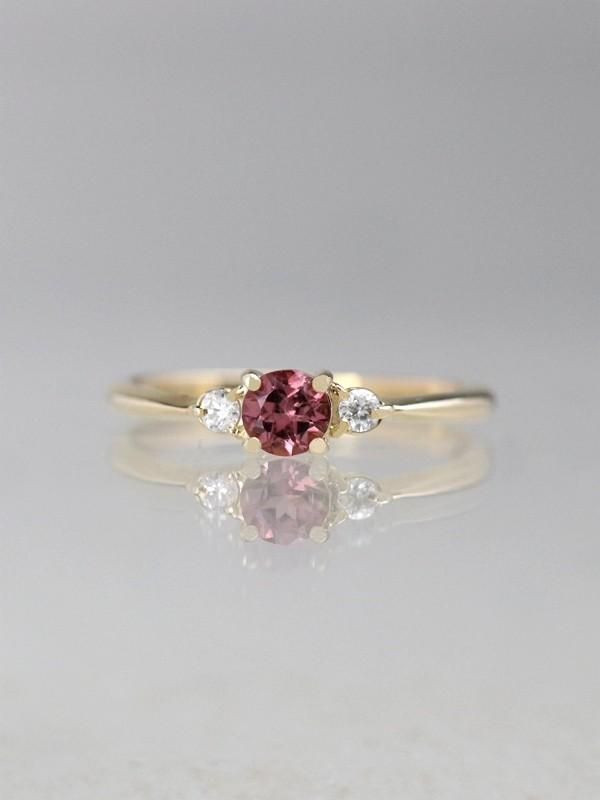 5x5mm Pink Tourmaline Diamond Solid 14k Rg Wedding Ring
