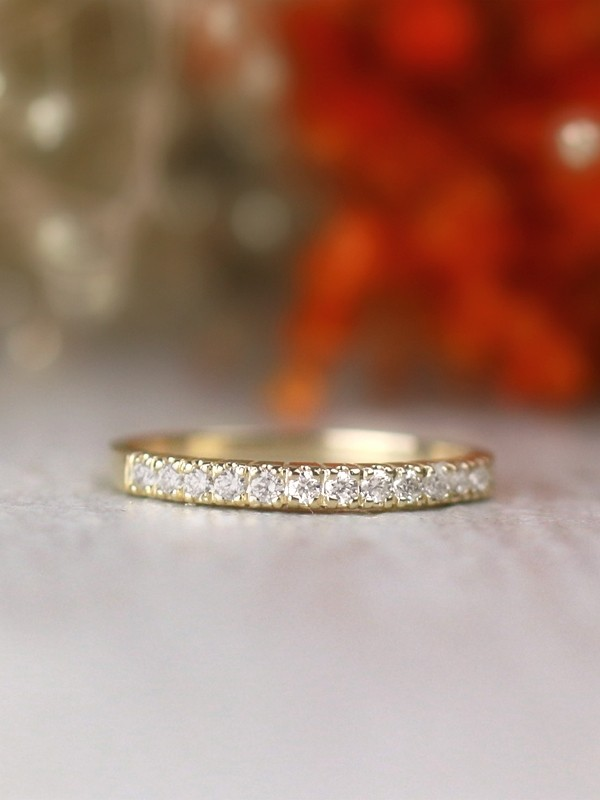 2.3MM Diamond Wedding Band <Four Prong> Solid 14K Gold Stackable Women's Engagement Ring